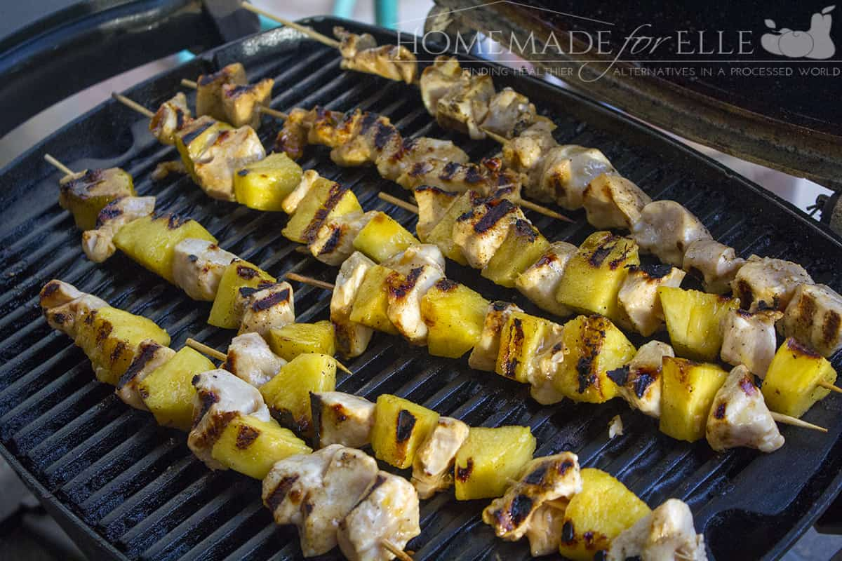 Chicken Pineapple and Sriracha Kebabs