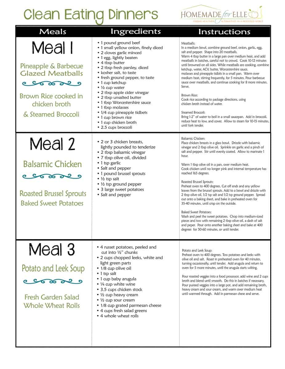 Clean Eating 7 Day Meal Plan Page 2