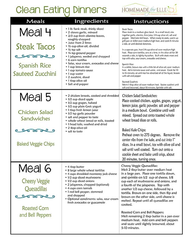 Free Clean Eating Meal Plan