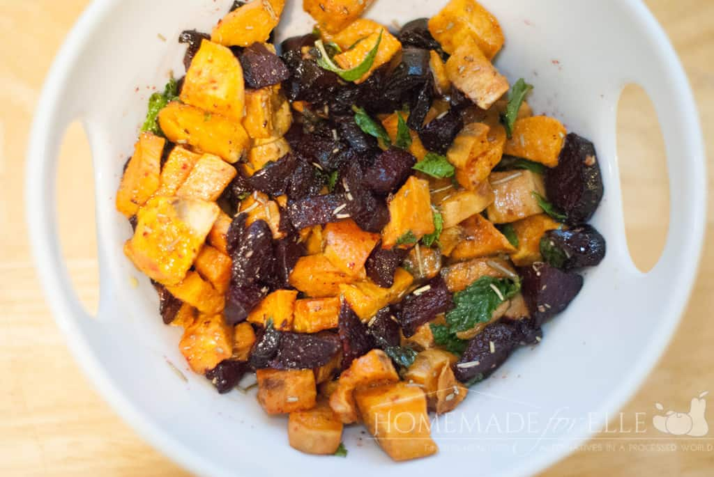 Roasted Beet and Sweet Potato Salad with Sweet Mint Vinaigrette