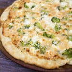 Broccoli, feta and alfredo pizza from homemade for elle