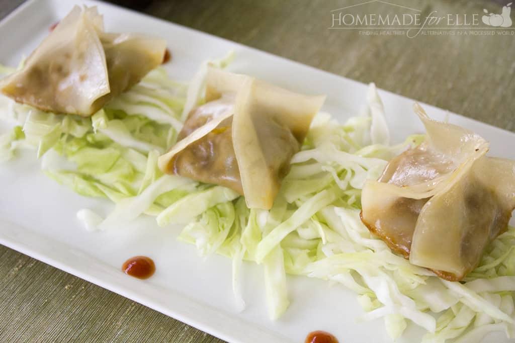 Homemade vegetarian potstickers
