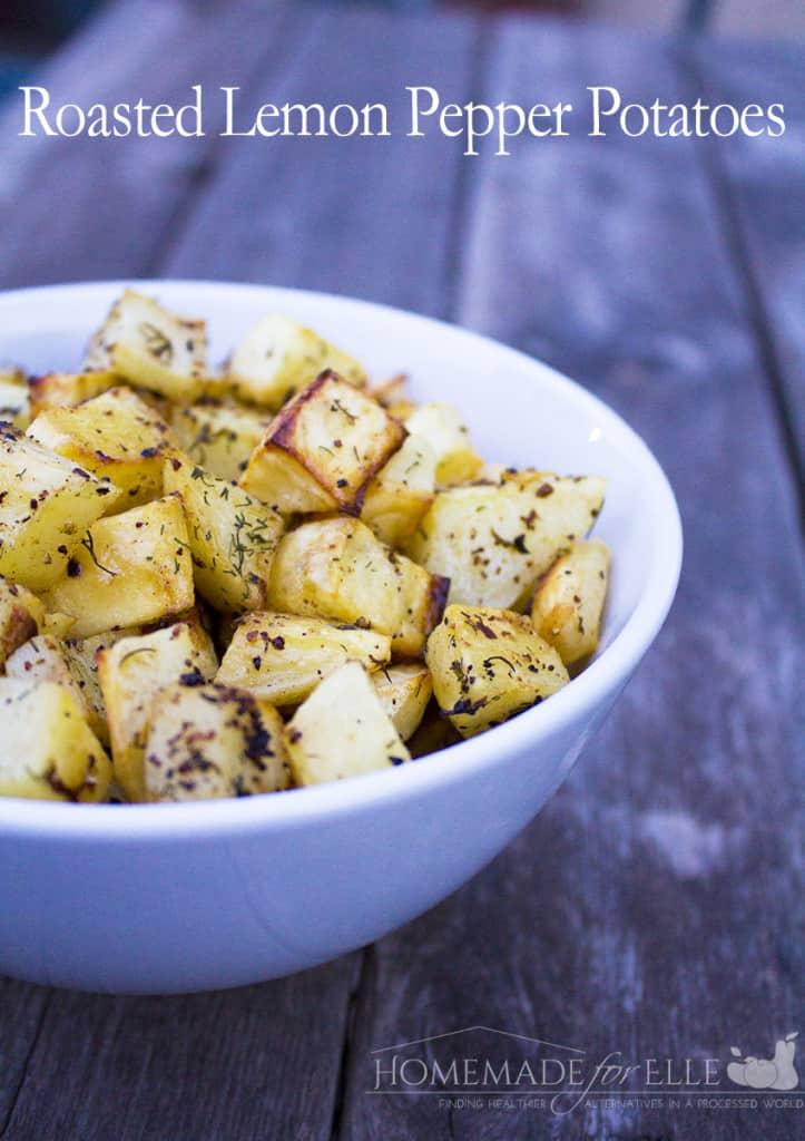 Roasted Lemon Pepper Potatoes from Homemade for Elle