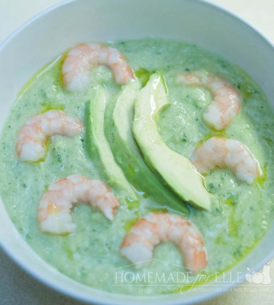 chilled shrimp, avocado and cucumber soup from homemade for elle