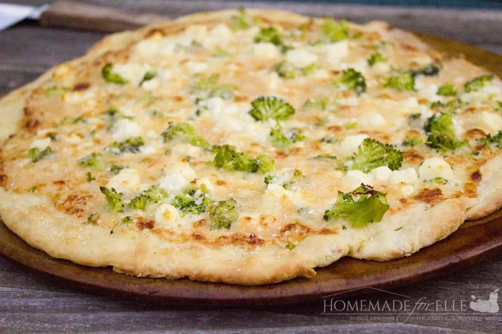 homemade broccoli pizza