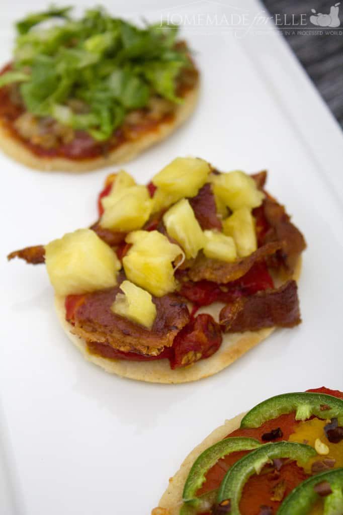 tomato, bacon and pineapple masa harina tapa