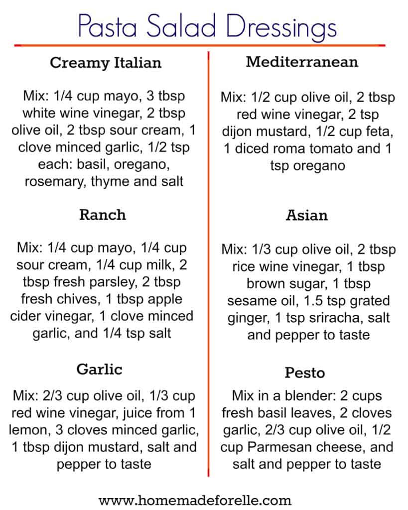 6 Easy Pasta Salad Dressing Recipes