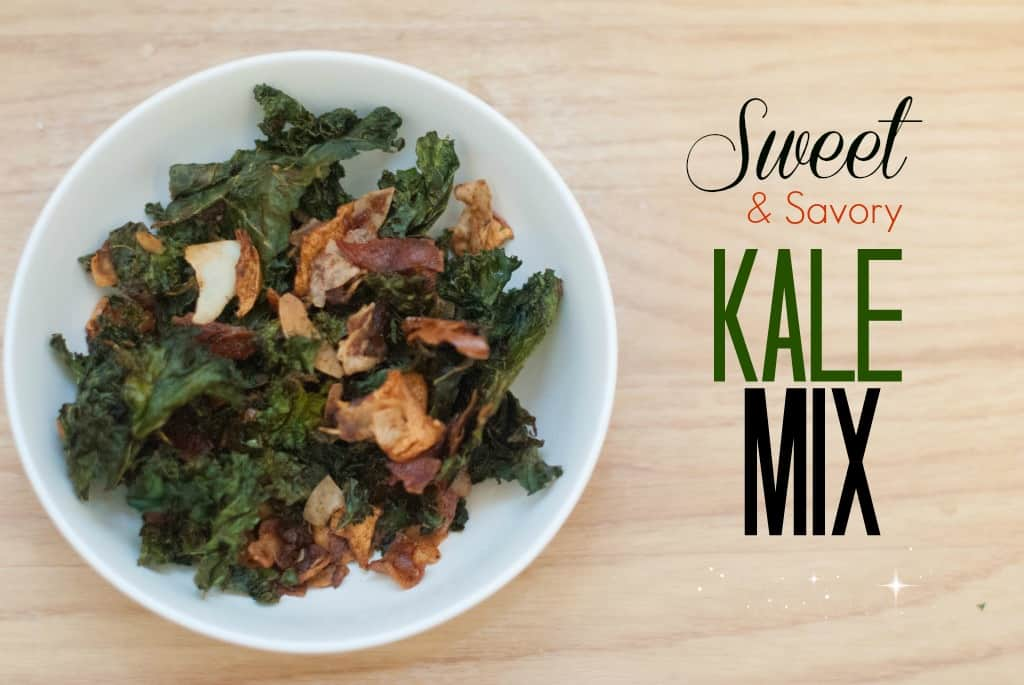 Sweet and Savory Baked Kale Chips Snack Mix