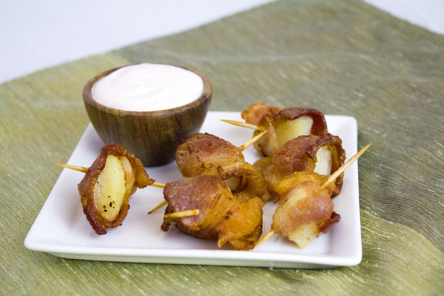 Bacon Wrapped Potatoes with a Sriracha Dipping Sauce