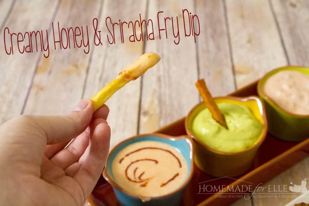creamy honey and sriracha fry dip