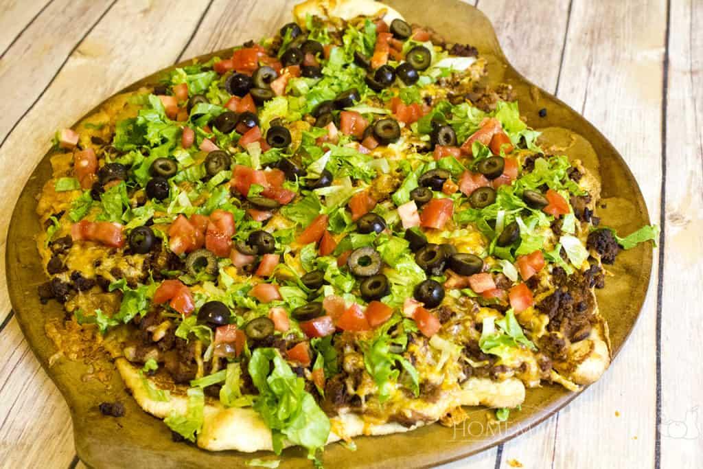 homemade taco pizz