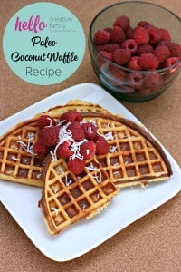 Hello-Creative-Family-shares-their-paleo-coconut-waffle-recipe-along-with-variations-to-dress-it-up