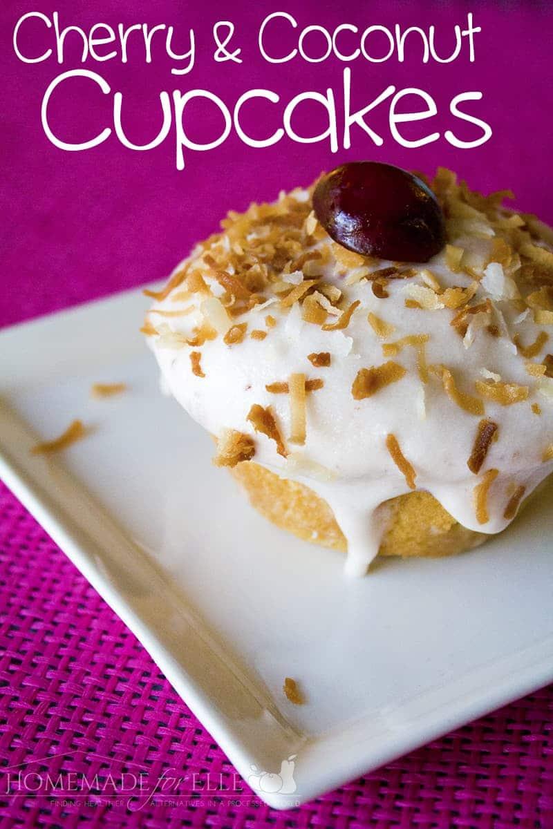 cherry coconut cupcake