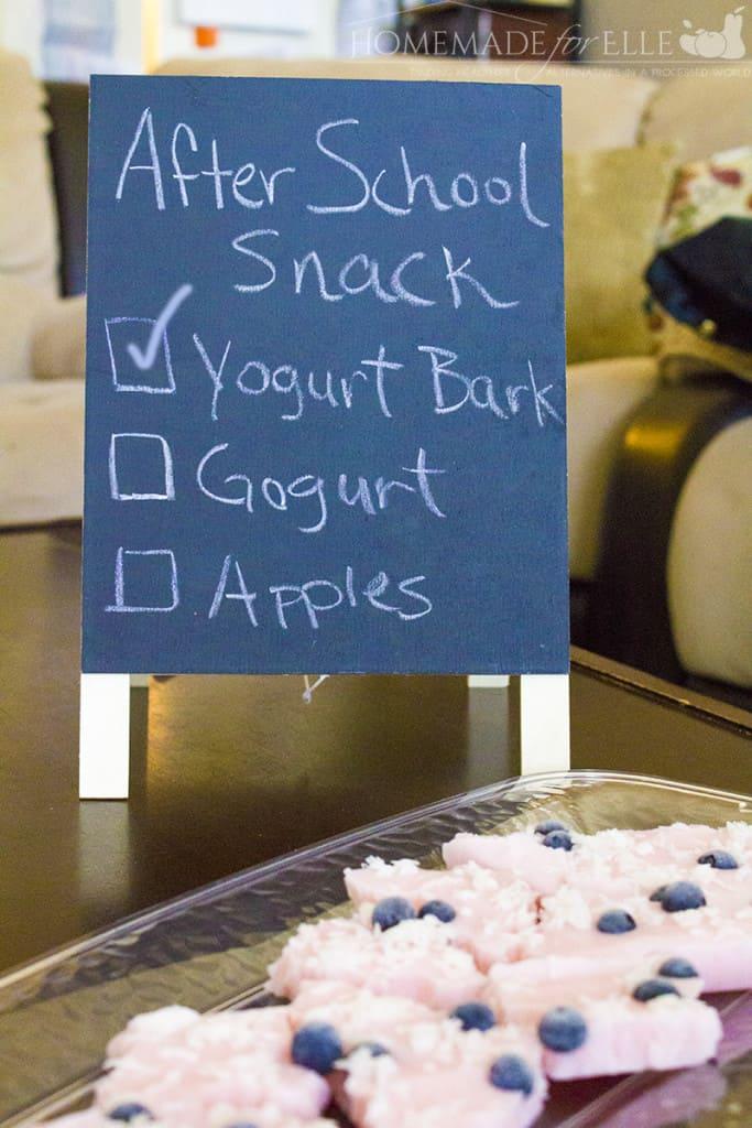 frozen yogurt bark after school snack