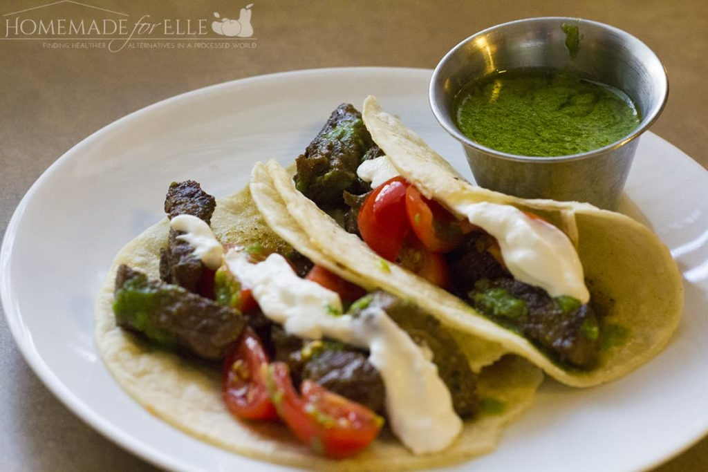 chimi tacos with sauce