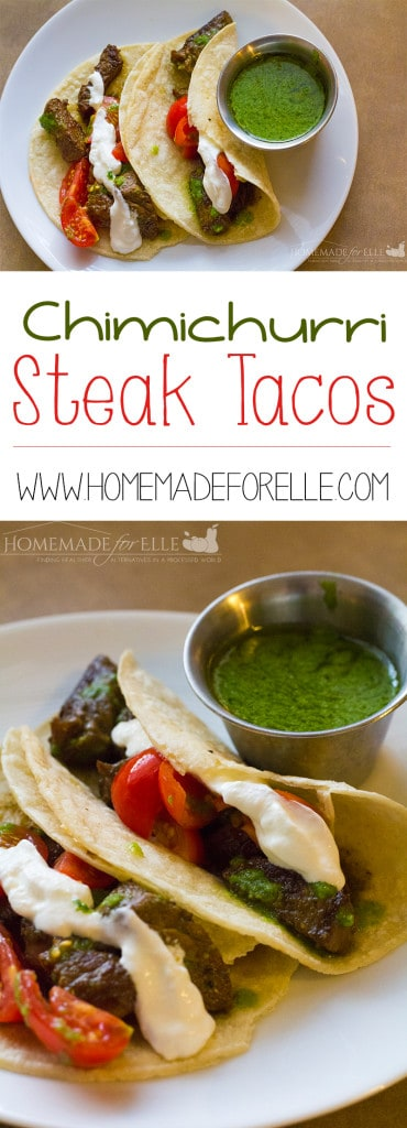 Steak Tacos with Chimichurri Sauce | homemadeforelle.com