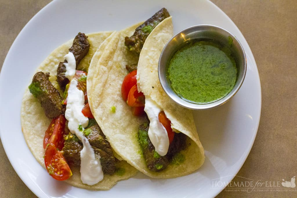steak tacos with chimichurri sauce2