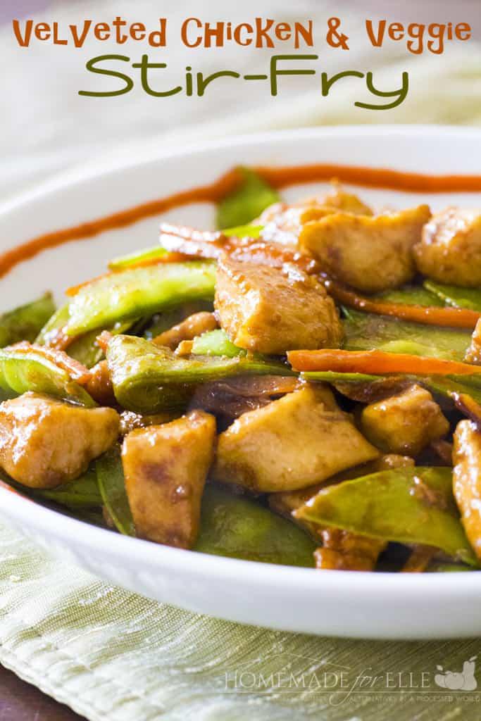 velveted chicken and veggie stirfry