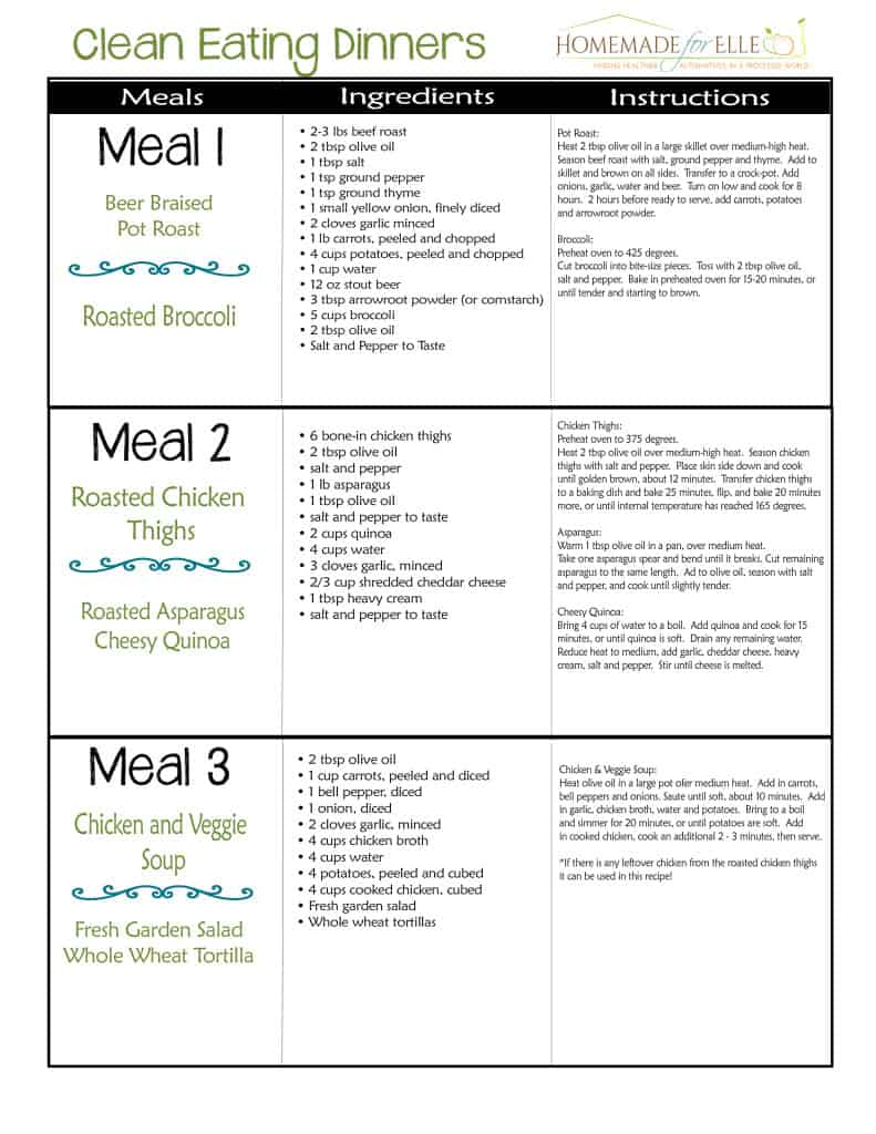 clean eating meal plan 100 free includes breakfast lunch