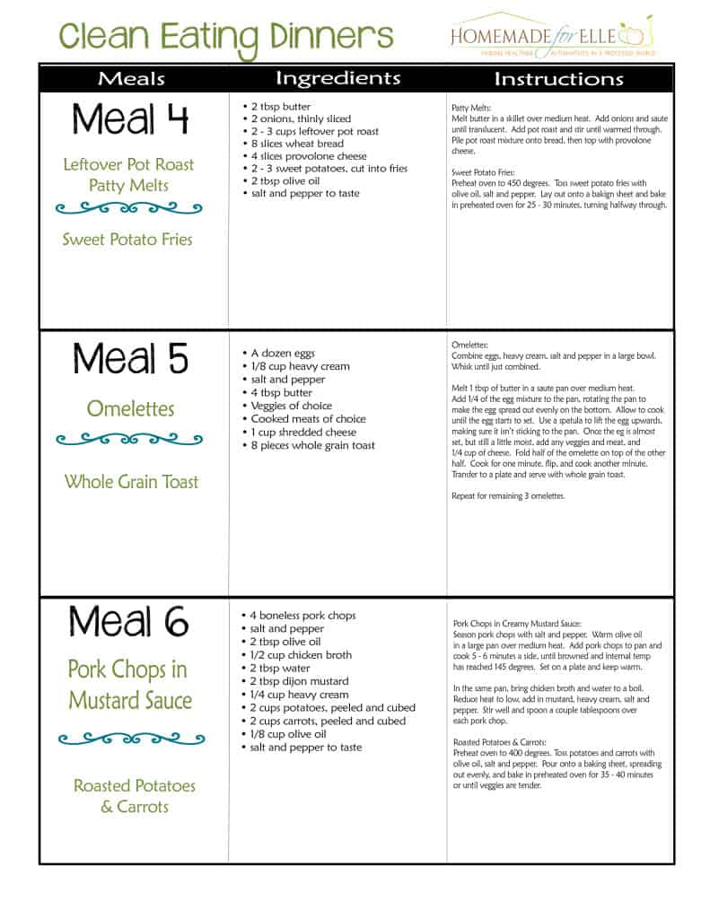 Free Clean Eating Menu Plan | homemadeforelle.com