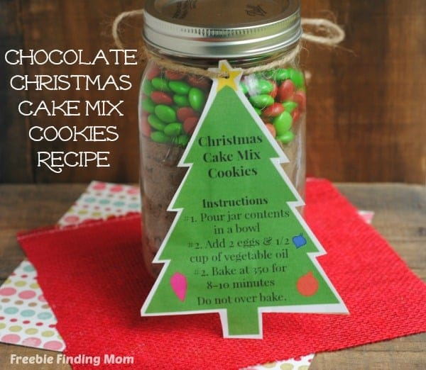 Christmas Cake Mix Cookies - Homemade Christmas Gifts in a Jar