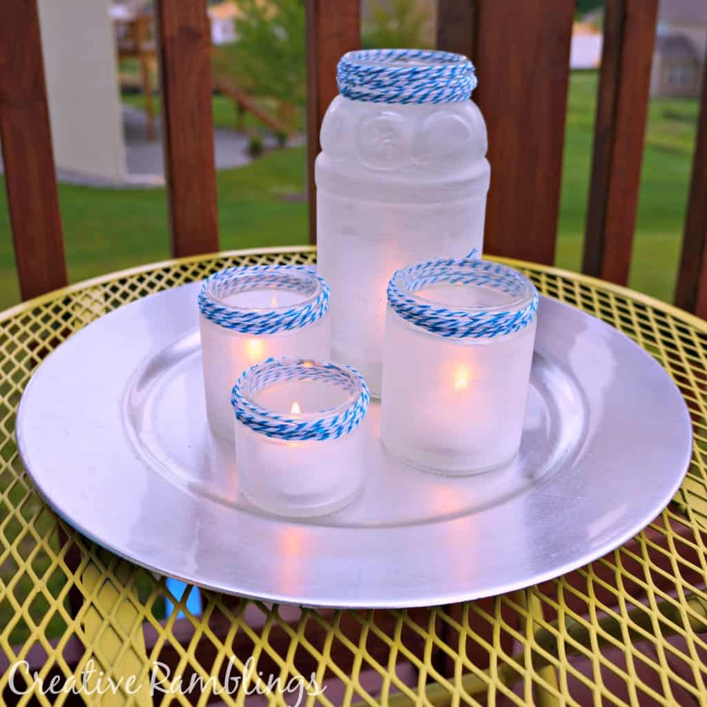 Frosted Tea Light Lanterns - Homemade Christmas Gifts in a Jar