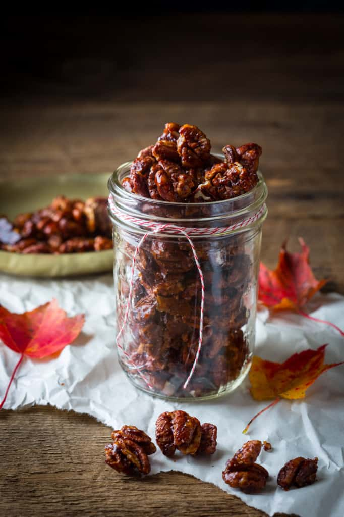 Chocolate Chili Spiced Pecans Homemade Christmas Gifts in a Jar