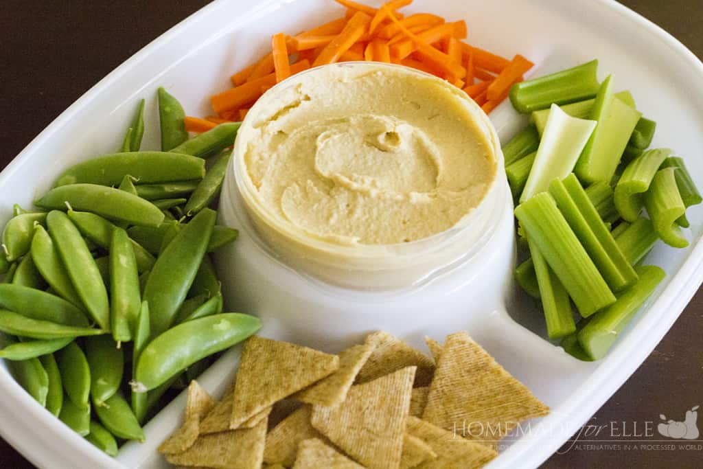 Veggie and Cracker Hummus Tray | homemadeforelle.com