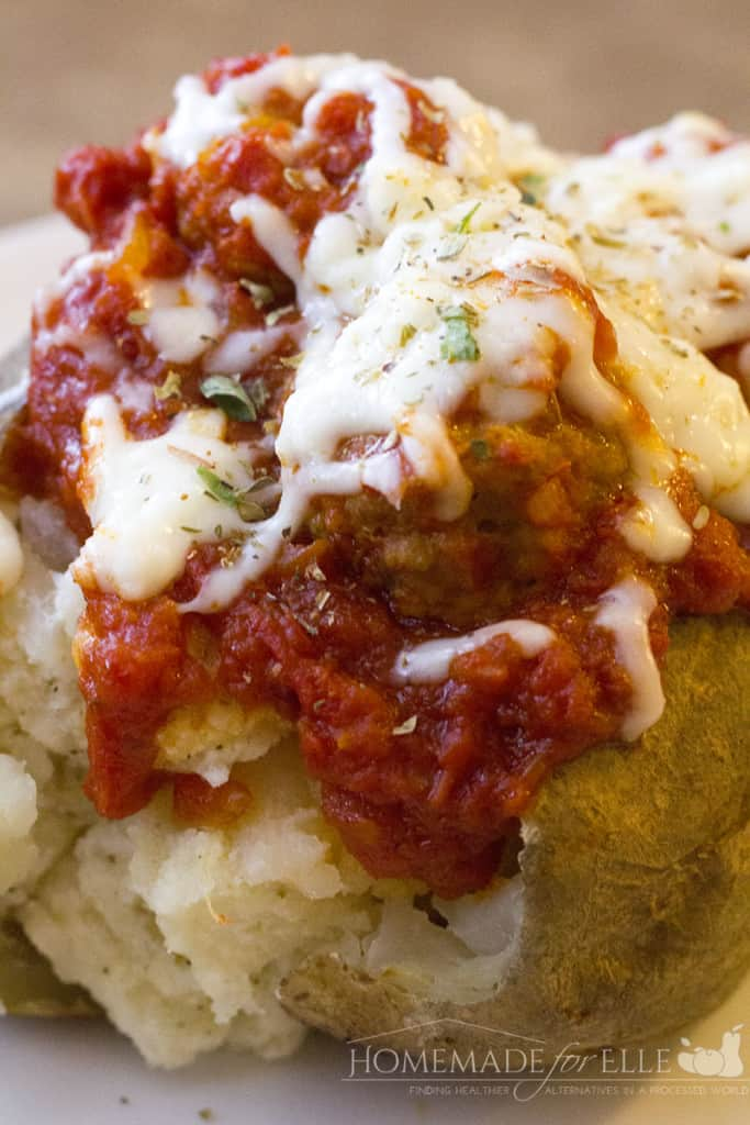 Meatball Stuffed Baked Potato | homemadeforelle.com