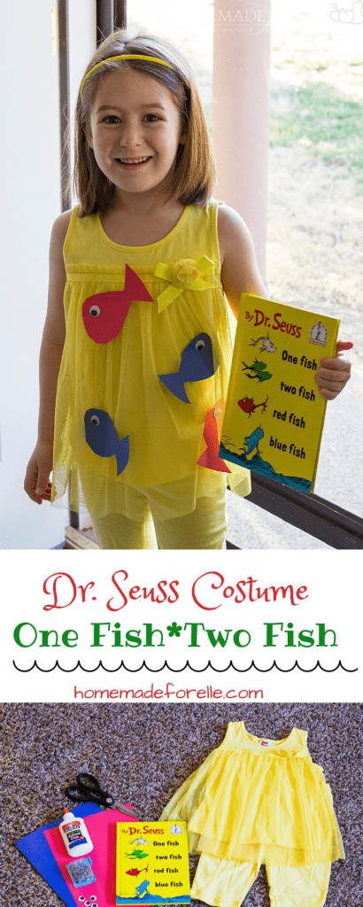 DIY Dr Seuss Halloween Costume - One Fish Two Fish - easy halloween costume