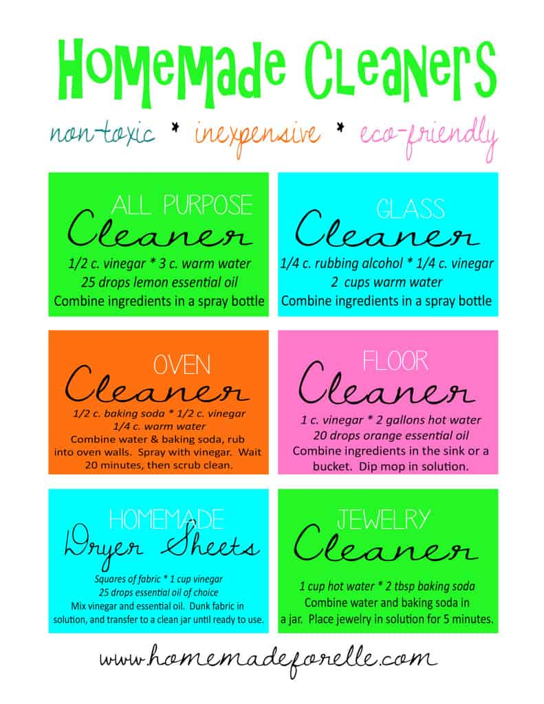 Homemade Cleaning Recipes Printable | homemadeforelle.com