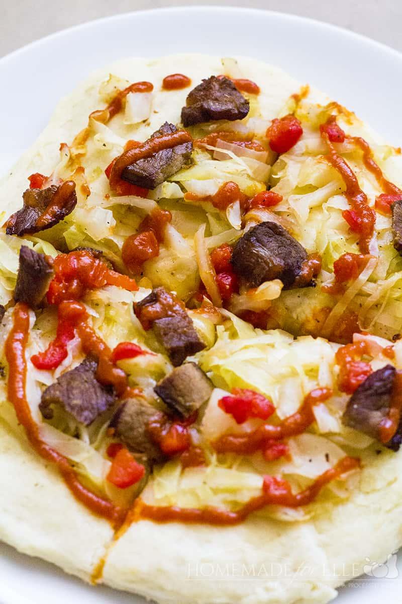Sauerkraut and Sriracha Pizza