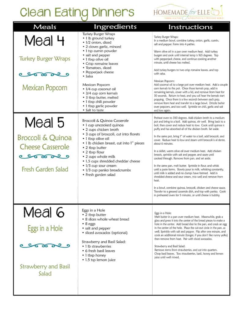 Clean Eating Meal Plan | homemadeforelle.com