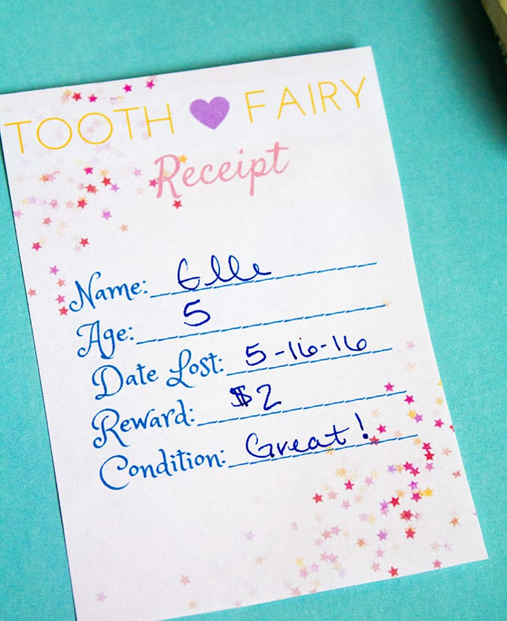 graphic relating to Free Printable Tooth Fairy Receipt known as Printable Enamel Fairy Receipts ⋆ Selfmade for Elle