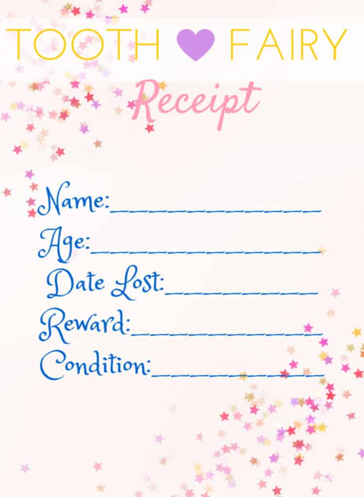 picture regarding Free Printable Tooth Fairy Receipt identified as Printable Teeth Fairy Receipts ⋆ Handmade for Elle