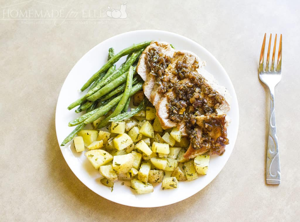 Roasted Pork with Balsamic Fig Sauce, Green Beans and Rosemary Potatoes | homemadeforelle.com