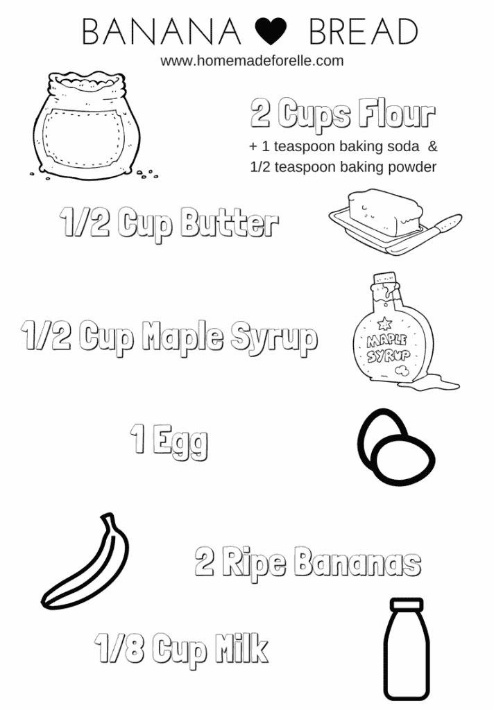 Banana Bread Coloring Page Printable PDF Free | homemadeforelle.com