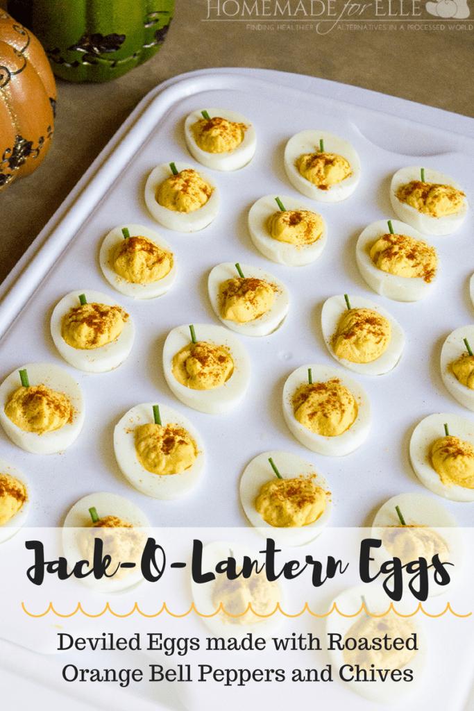 Jack-o-lantern deviled eggs | homemadeforelle.com