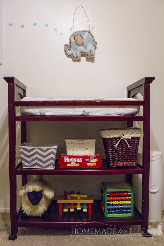 How to Organize a Changing Table | homemadeforelle.com