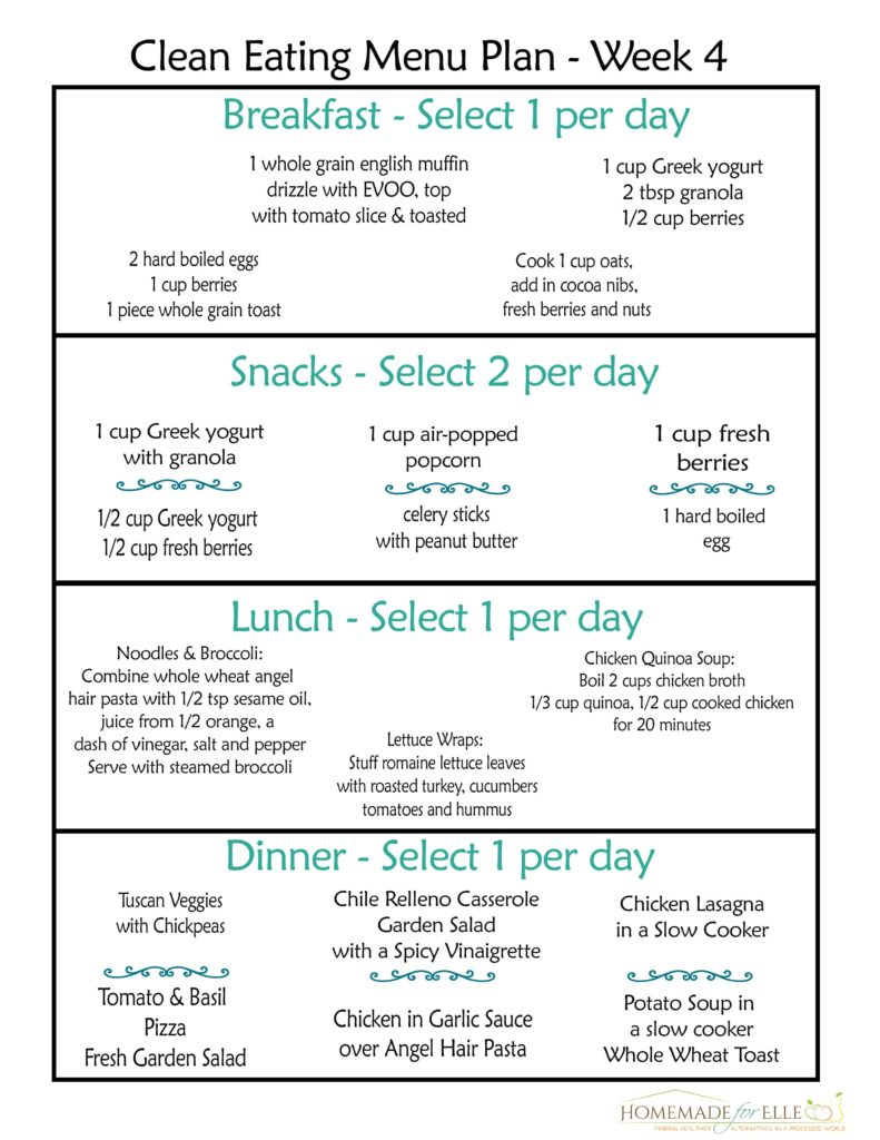 Free Clean Eating Meal Plan - week 4 | homemadeforelle.com