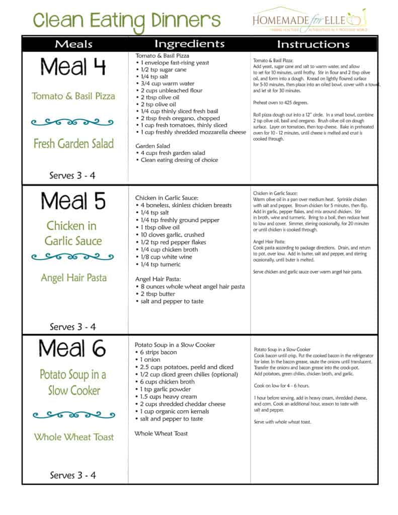 Clean Eating Meal Plan - Week 4 | homemadeforelle.com