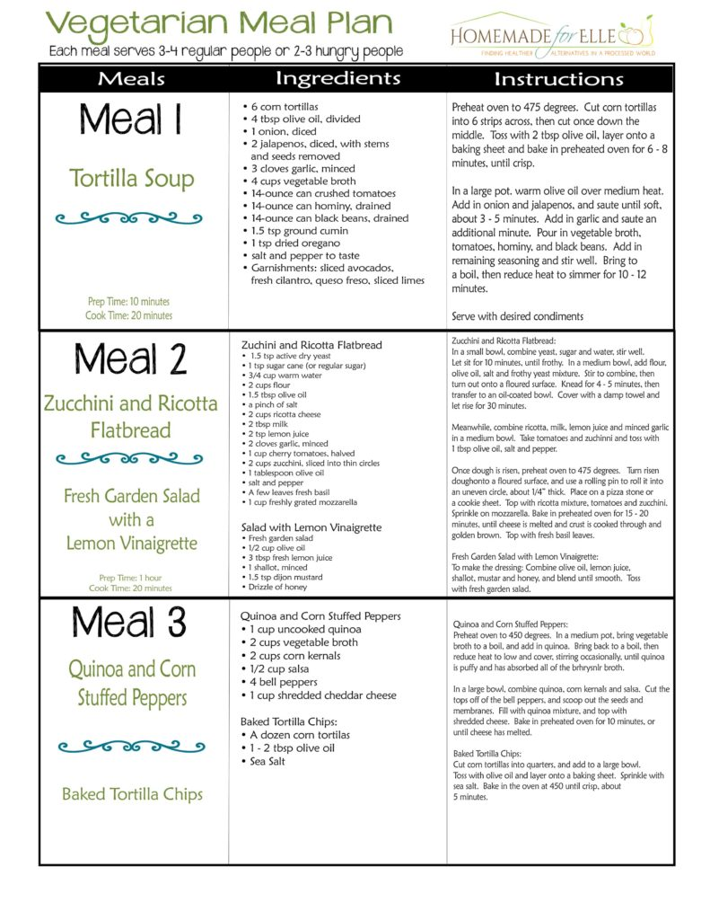 vegetarian weekly meal plan homemade for elle