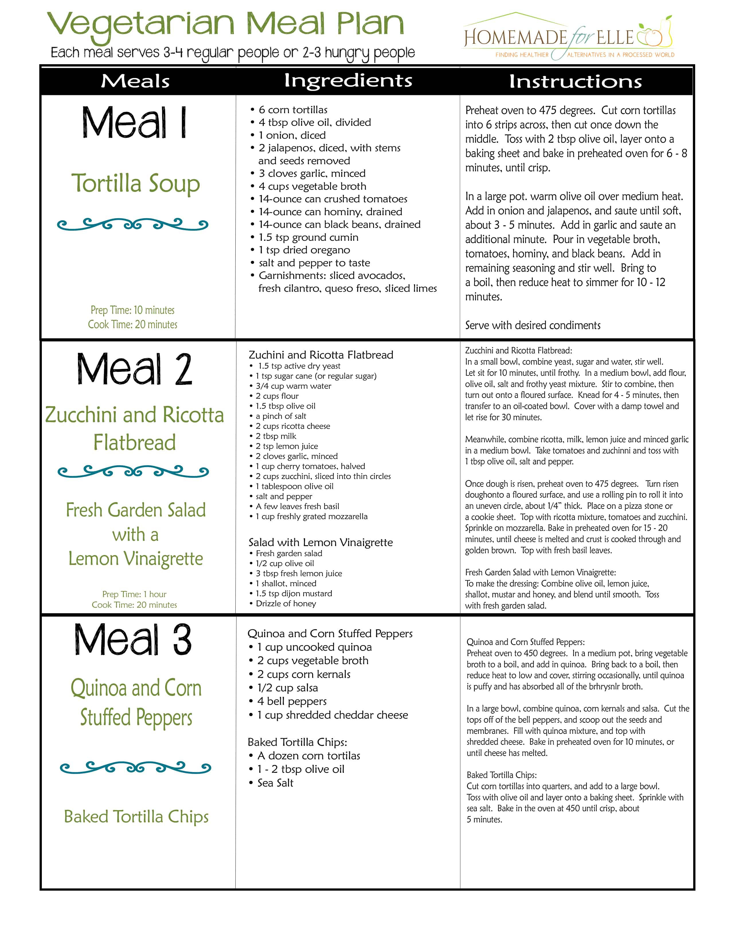 image of vegetarian meal plan