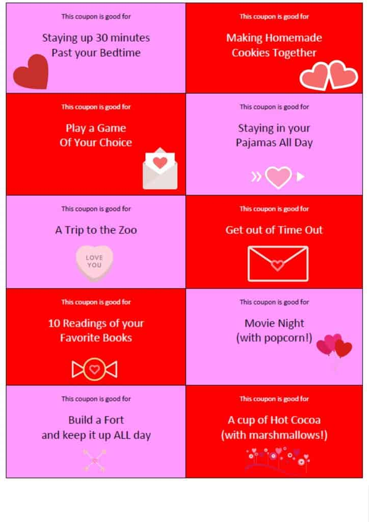 Valentines Day Coupons for Kids - Printable PDF | homemadeforelle.com