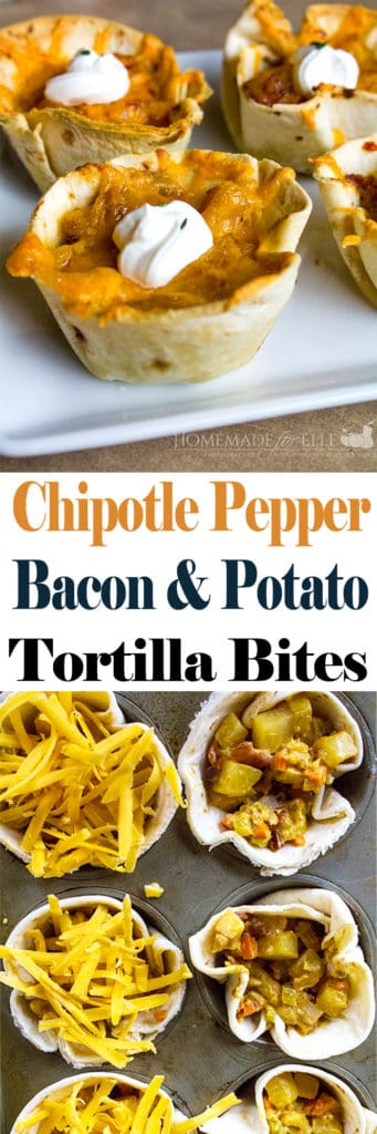 Chipotle Pepper, Bacon and Potato Stuffed Tortilla Cups | homemadeforelle.com