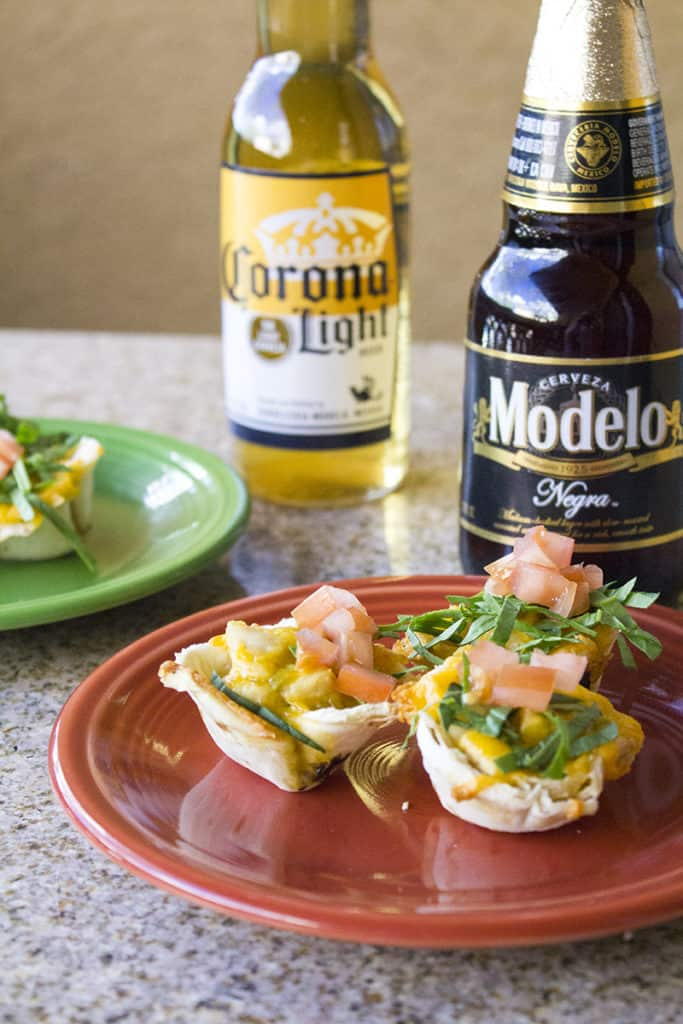 Chicken Enchilada Bites made with a Beer & Green Chile Sauce | homemadeforelle.com