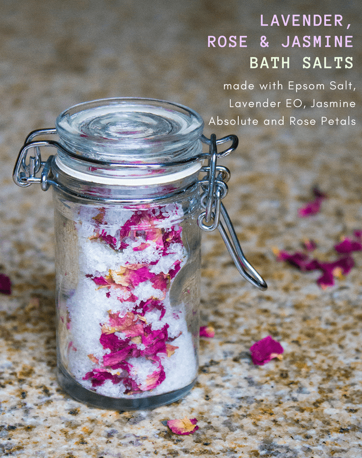 Jasmine, Lavender and Rose Homemade Aromatherapy Bath Salts