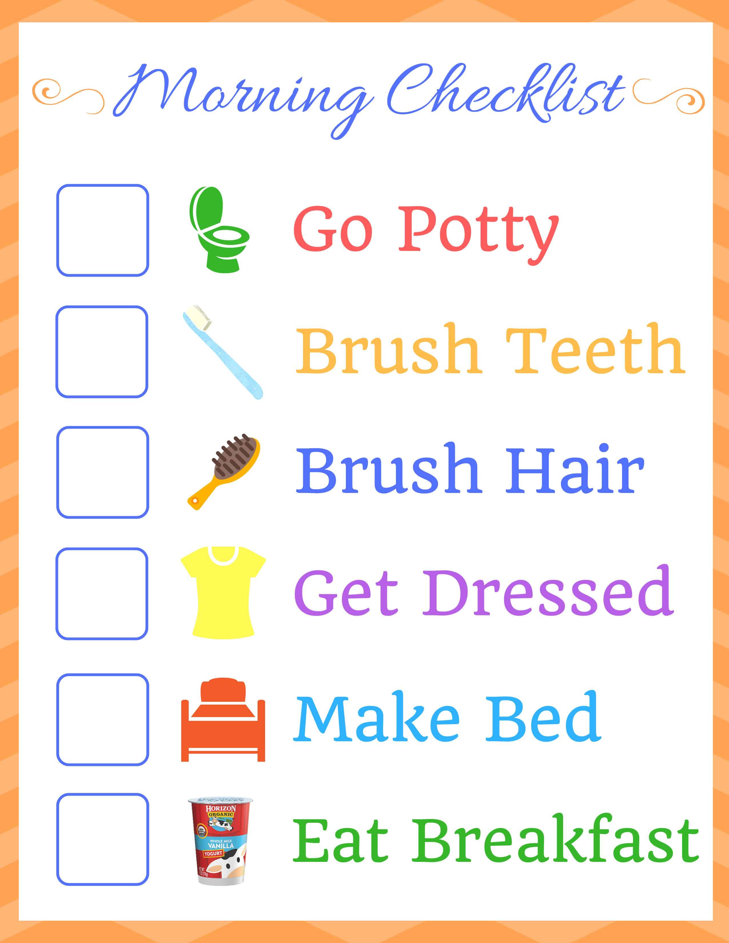 Kids Morning Routine Checklist ⋆ Homemade for Elle