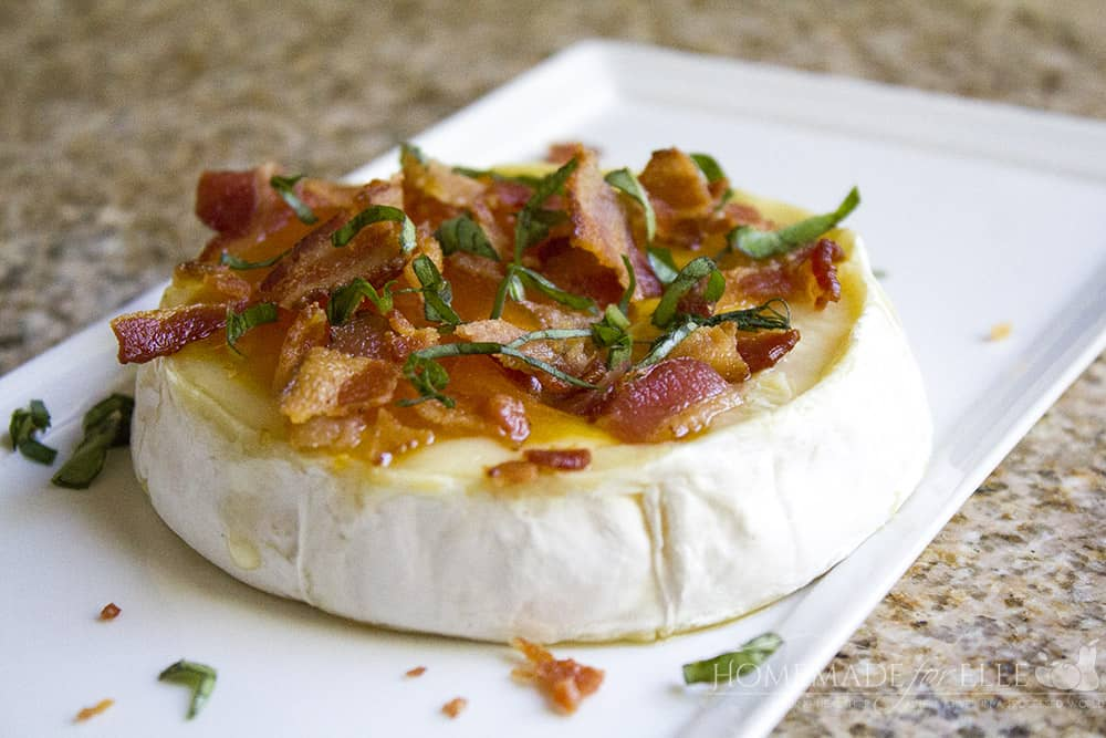 Peach, Basil and Bacon Baked Brie