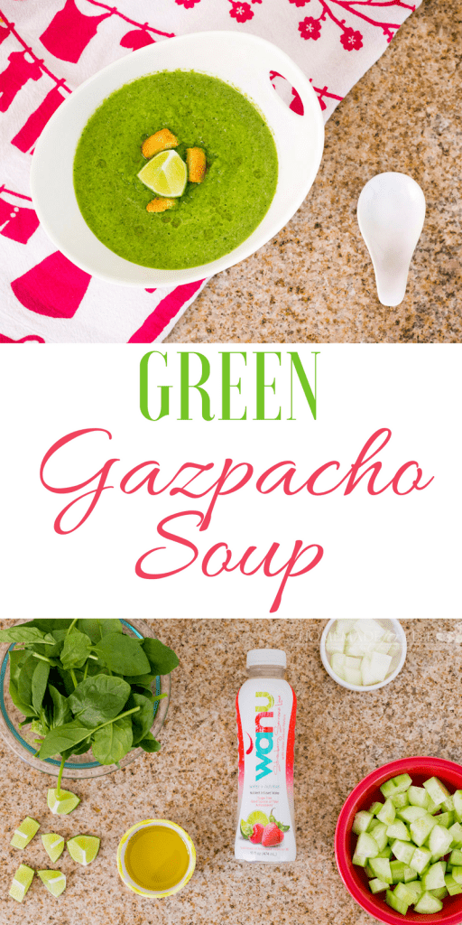 Green Gazpacho Soup made with spinach, cucumbers and olive oil | homemadeforelle.com